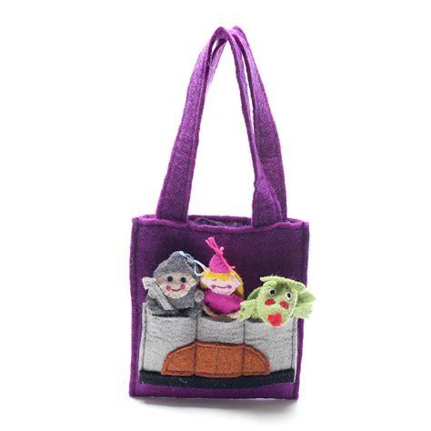 Handmade Felt Bags - handmade felt finger puppet bag by felt so