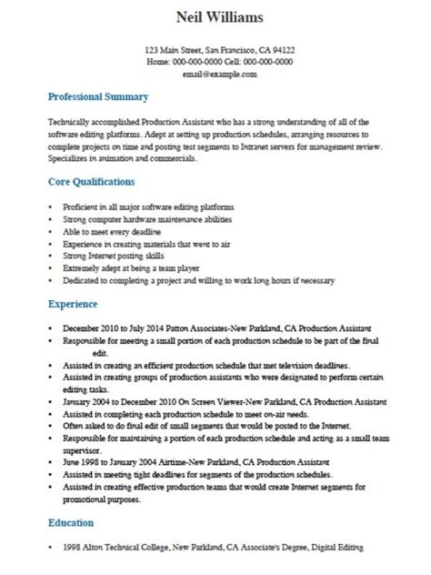 Adobe Pdf Resume Template by Free Professional Production Assistant Resume Template