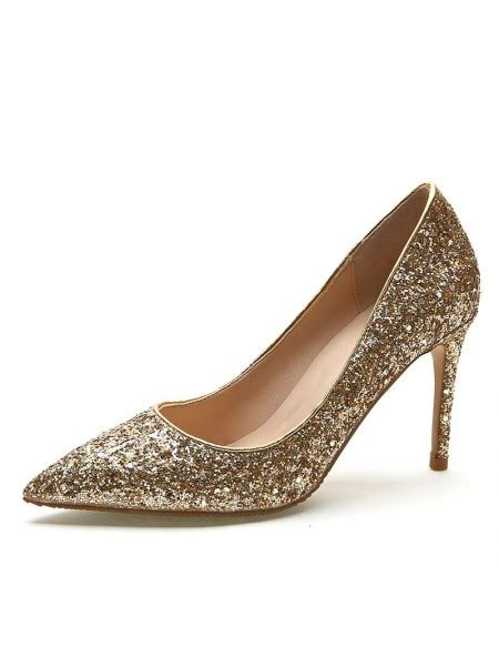 Heels Glossy glossy sequined gold prom shoes 2018 high heel stilettos