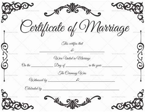 printable marriage certificate template marriage certificate template 22 editable for word