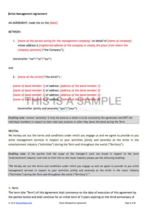 Artist Management Contract Template Exclusive Songwriter Agreement Template