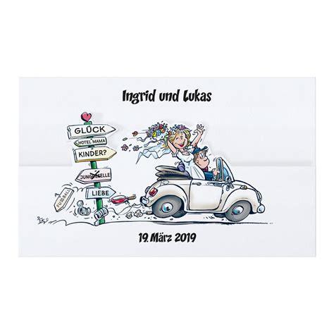 len im auto originelle comic hochzeitskarte mit freudestrahlendem