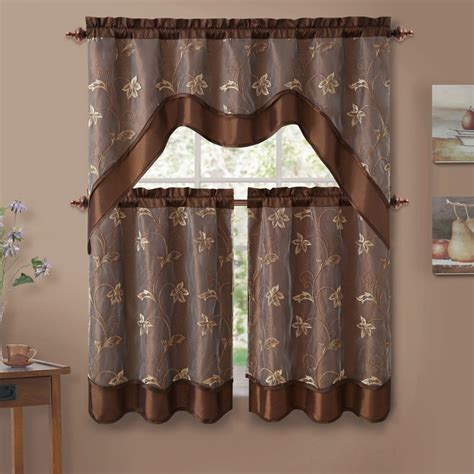 Swag Curtains For Kitchen Embroidered Kitchen Curtain Swag Tiers Set Chocolate 57x36 28x36