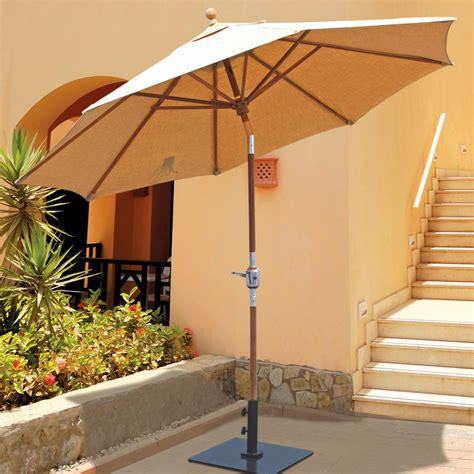 Galtech 9 Ft Teak Patio Umbrella With Crank Lift And Teak Patio Umbrellas