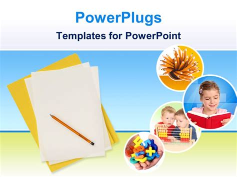 Powerpoint Template Education Theme With Yellow Folder And White Papers With Pencil And Four Education Powerpoint Templates