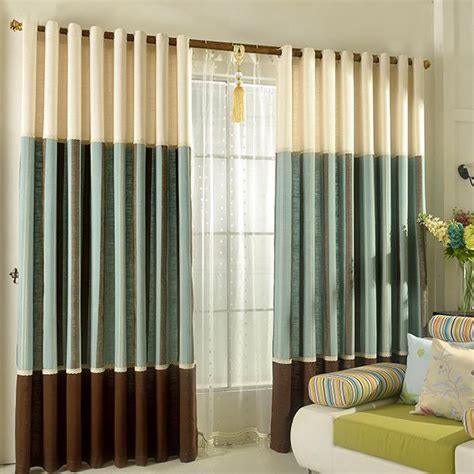 color block linen striped breathable modern custom curtains