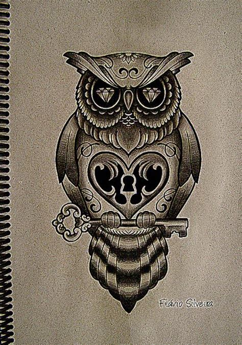 owl tattoo with lock and key meaning attractive black ink owl tattoo design by yankeestyle94