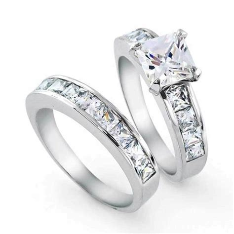 Bling Jewelry Sterling Silver 2ct CZ Princess cut