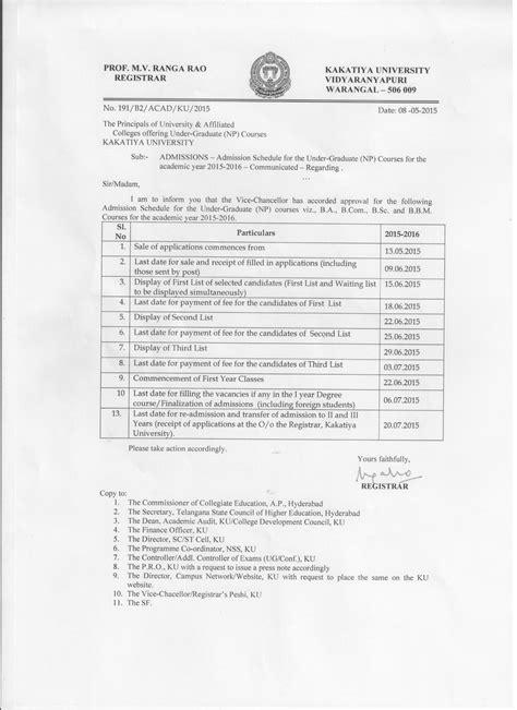 Ku Mba Syllabus Pdf by Kakatiya Degree Certificate Sle Images