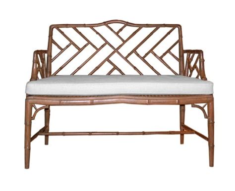 bamboo bench seat carved faux bamboo bench with cane seat at 1stdibs