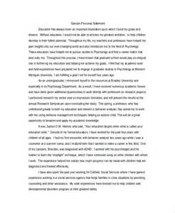 personal statement for graduate school template personal statement for education
