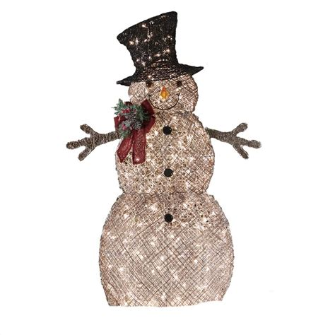 Lighted Outdoor Snowman Living 48 In Lighted Vine Snowman Outdoor