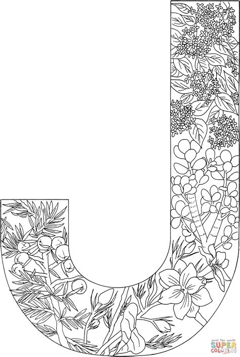 color con j letter j with plants coloring page free printable