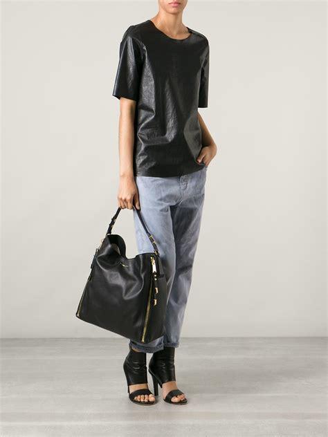 michael kors miranda black 32 lyst michael kors large miranda zipper shoulder bag in black