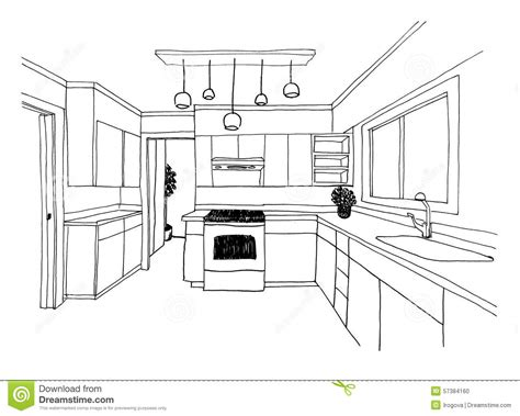 sketch drawing of a kitchen with island google search graphical sketch the kitchen stock illustration