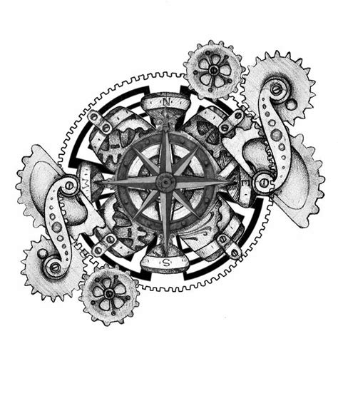 steampunk compass tattoo designs www pixshark com