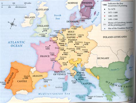 map of 15th century europe printing