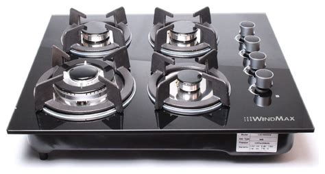 modern gas cooktop windmax 24 quot black electric tempered glass built in kitchen