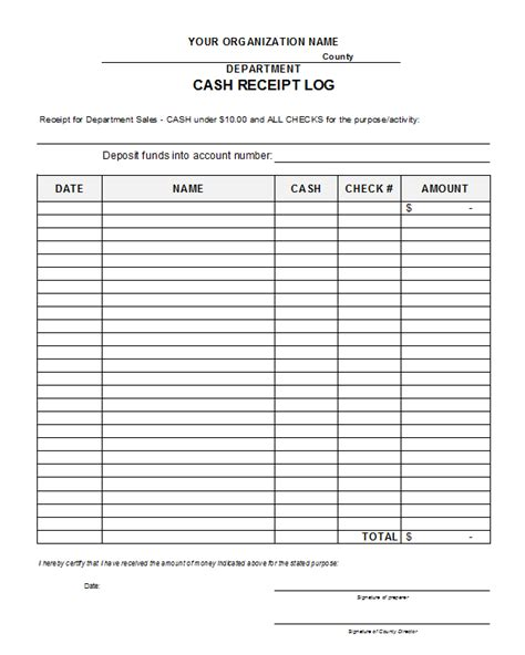 Free Receipt Log Template free printable receipts receipt log template