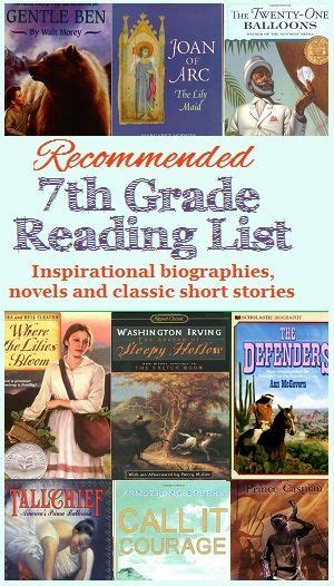 7th grade biography reading list recommended reading list for 7th grade homeschool