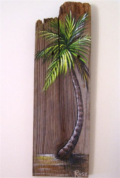 painted wooden trees palm tree painted on reclaimed fence board wood plaque