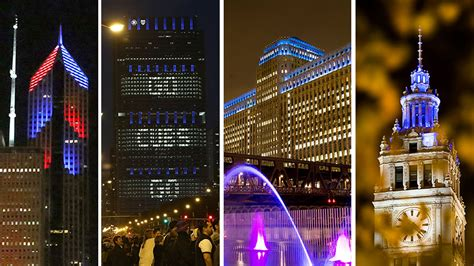 in color chicago chicago buildings light up for the cubs postseason