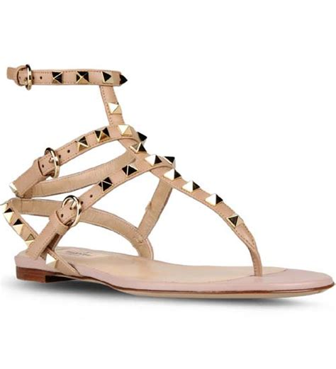 flat shoes valentino sn208 valentino rockstud ankle wrap leather flat sandals