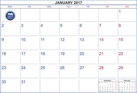 Calendar 2017 January 2017 Calendar January Printable Printable 2017 Calendar