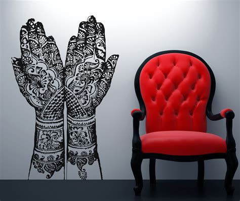 henna design wall decals vinyl wall decal sticker henna hands osaa383s