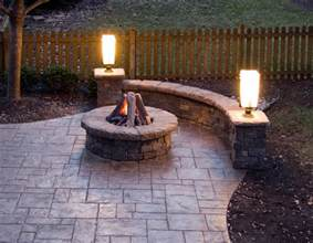 Backyard With Firepit Sted Concrete Patio Gas Pit Walls And Lighting Traditional Patio Kansas