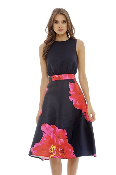 Dress Obi 2in1 Flower ax womens 2 in 1 floral midi dress navy sleeveless casual wear ebay