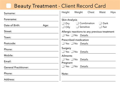 nail technician client record card template client card treatment consultation card