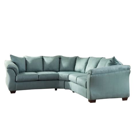 darcy sectional ashley darcy 2 piece fabric sectional in sky 75006 55 56 kit