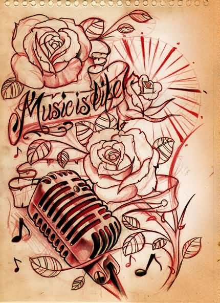 music and flower tattoo designs images designs