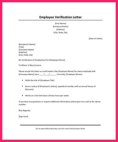 income verification letter salary verification letter bio letter format