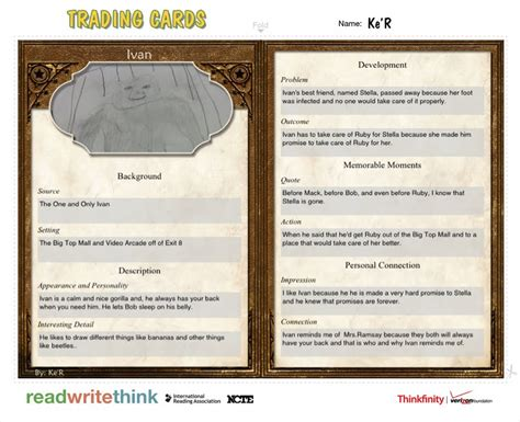 character trading cards template 3rd grade ramsay s class global read aloud character trading cards