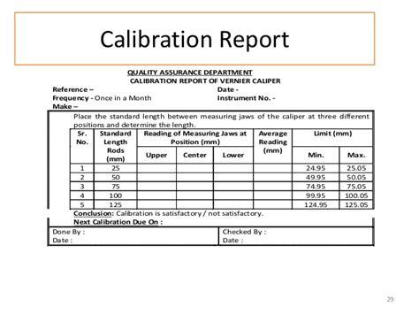 calibration report template calipers presentation mukesh