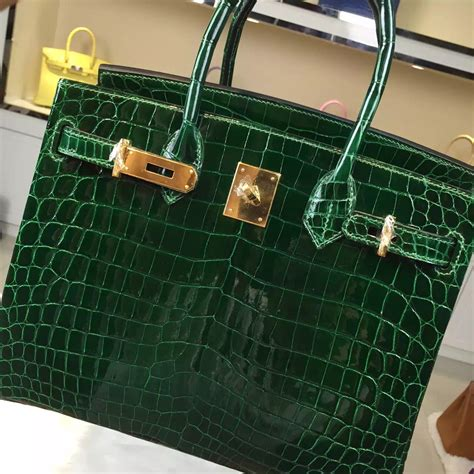 Hermes Birkin Croco Snake hermes birkin 30cm crocodile leather bag with green gold