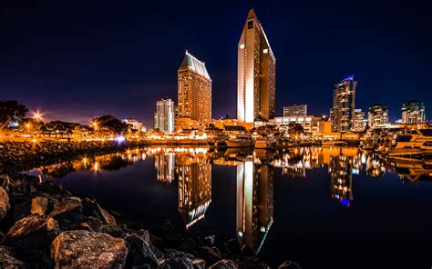 Lights San Diego by Buildings Skyscrapers Reflection San Diego Harbor