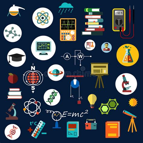 flat physics science equipment and symbols stock vector