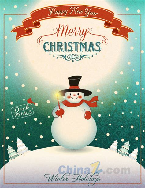 christmas vintage posters design vector free vector