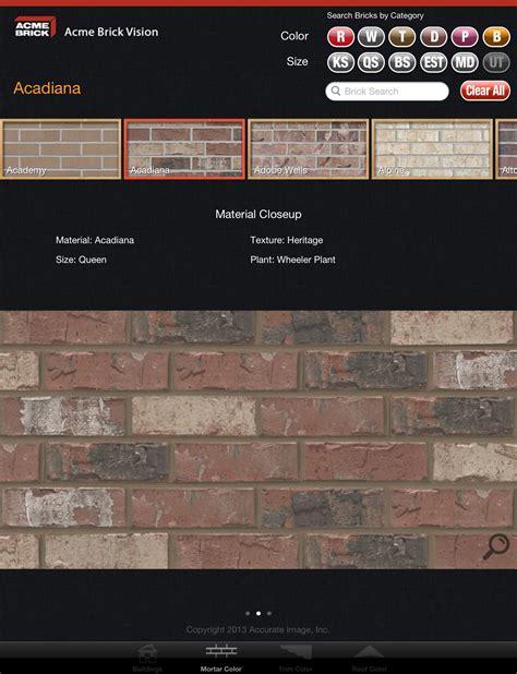 brick mortar color chart acme brick company debuts new mobile app quot acme brick