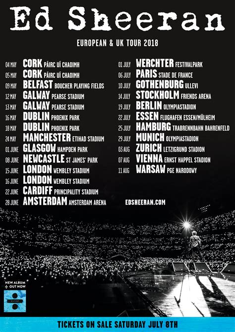 ed sheeran tour european stadium dates announced for 2018 ed sheeran
