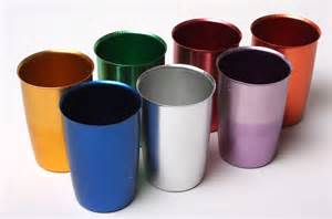 s colored set 7 colored 1950 s vintage anodized metal cups mardi