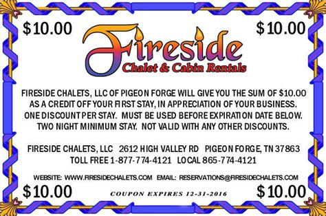 Pigeon Forge Cabin Coupons by Fireside Chalets Pigeon Forge Gatlinburg Tennessee