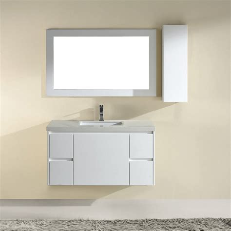 high bathroom vanity shop spa bathe bach high gloss white undermount single sink bathroom vanity with