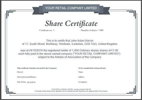 shareholders certificate template another inform direct product update october 2016