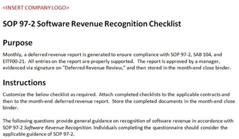 sop 97 2 checklist accounting template software revenue