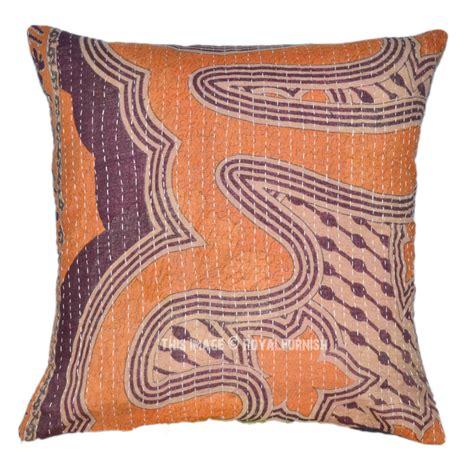 Square Pillow Sham by 16x16 Brown Multi 16x16 Sari Kantha Square Pillow Sham