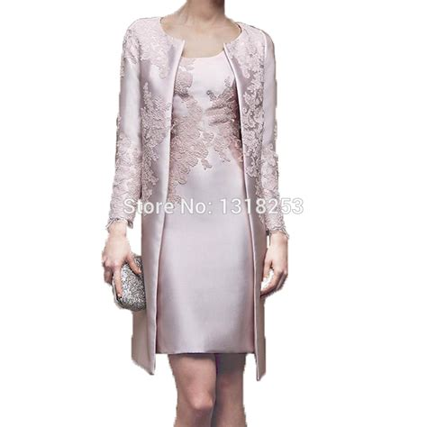 2 piece mother of the bride dresses knee length with long sleeve jacket mother of the bride groom dresses